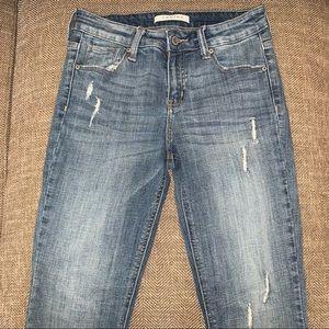 EUC Eunina Mid Rise Knee Split Skinny Jean Size 27